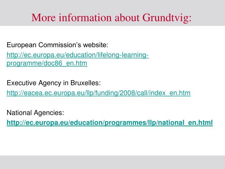 More information about Grundtvig: