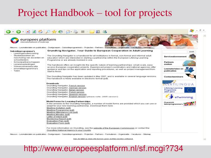 Project Handbook – tool for projects