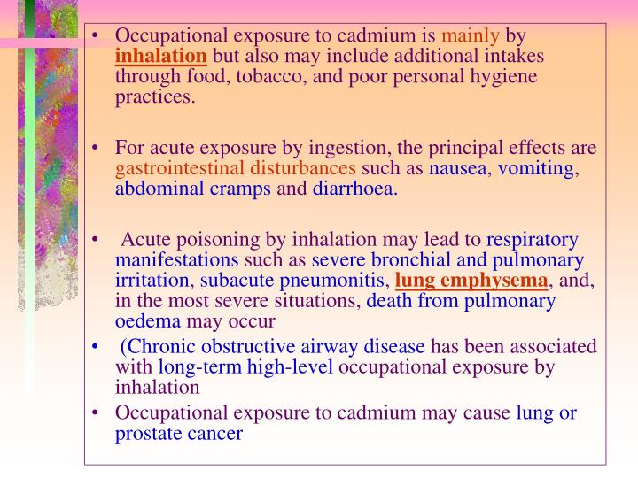 Occupational exposure to cadmium is