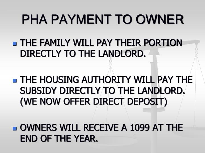 Pha payment to owner