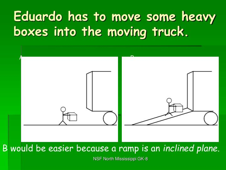 Eduardo has to move some heavy boxes into the moving truck.