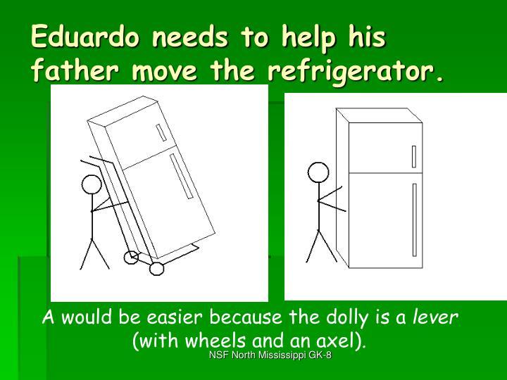 Eduardo needs to help his father move the refrigerator.