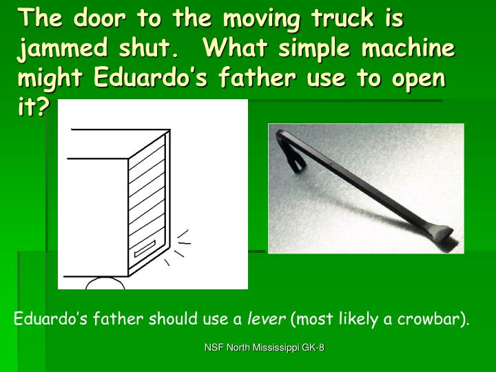 The door to the moving truck is jammed shut.  What simple machine might Eduardo's father use to open it?