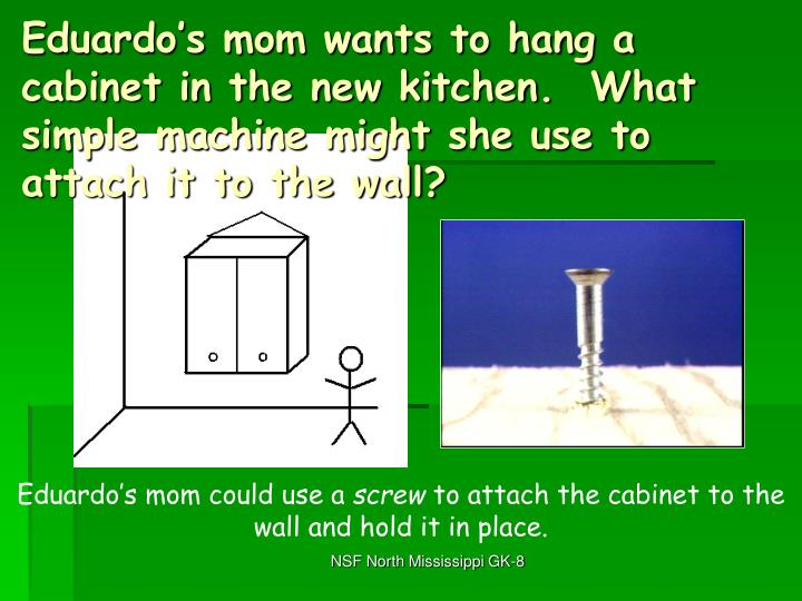 Eduardo's mom wants to hang a cabinet in the new kitchen.  What simple machine might she use to attach it to the wall?