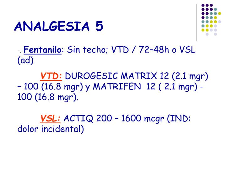 ANALGESIA 5