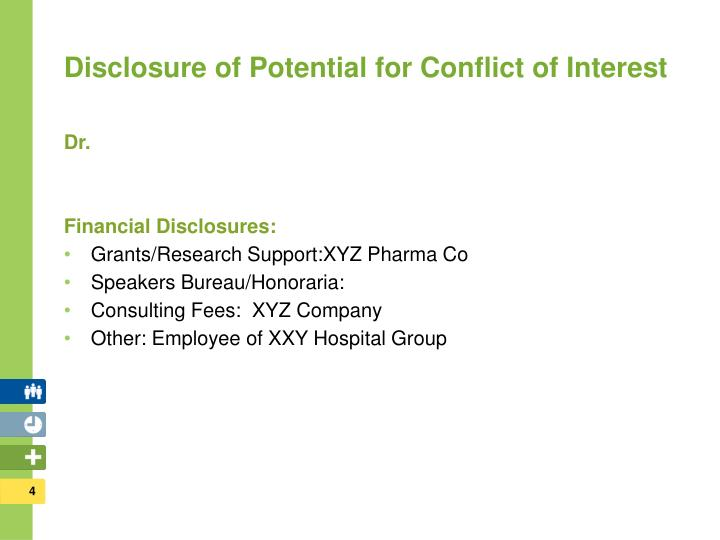 Disclosure of Potential for Conflict of Interest
