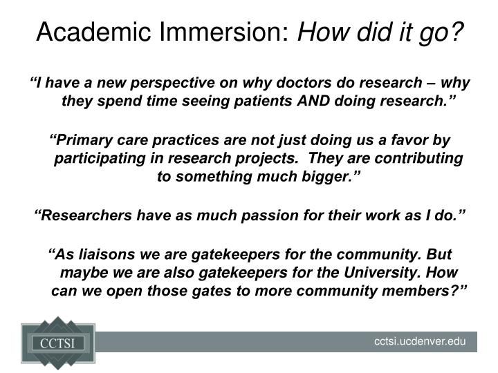 Academic Immersion: