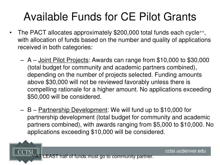 Available Funds for CE Pilot Grants