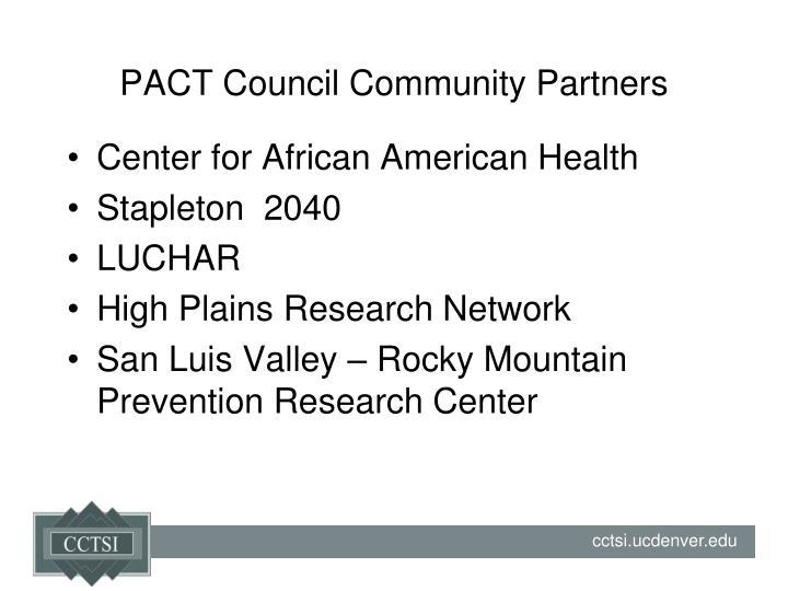 PACT Council Community Partners