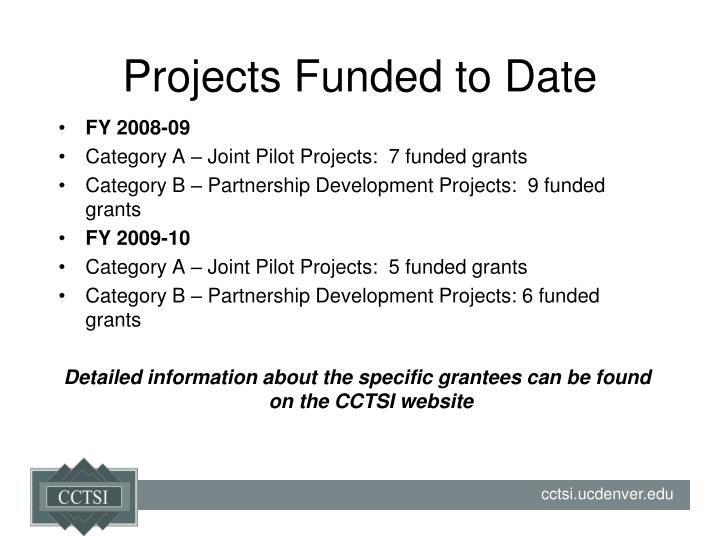 Projects Funded to Date