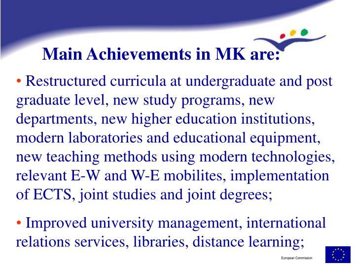 Main Achievements in MK are: