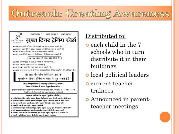 Outreach: Creating Awareness