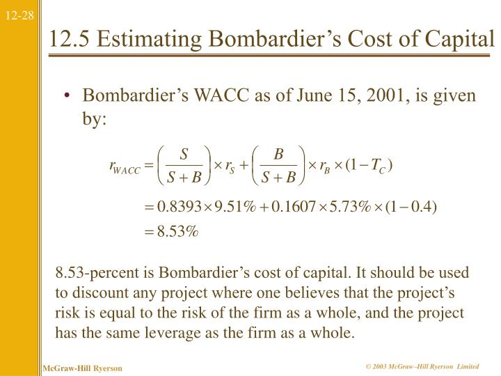 12.5 Estimating Bombardier's Cost of Capital