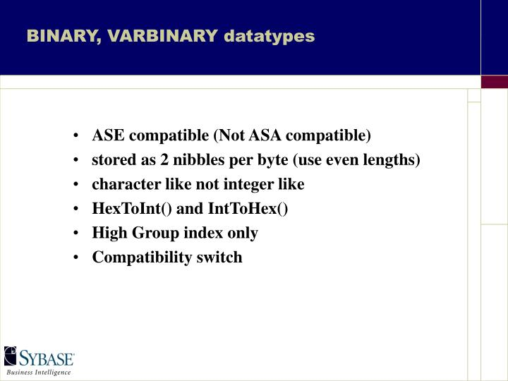 BINARY, VARBINARY datatypes