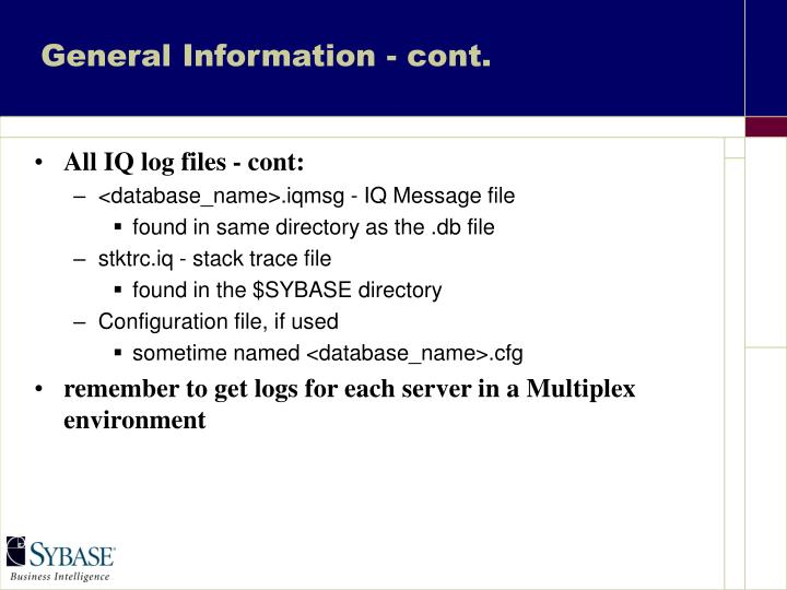 General Information - cont.