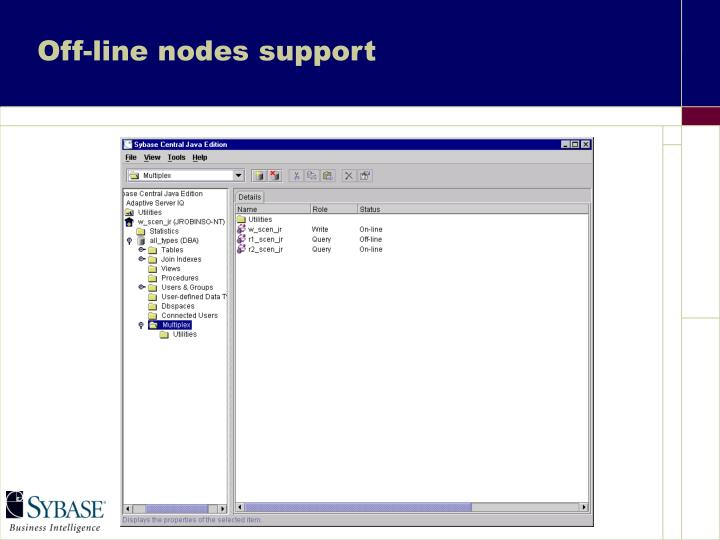 Off-line nodes support