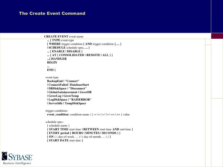 The Create Event Command