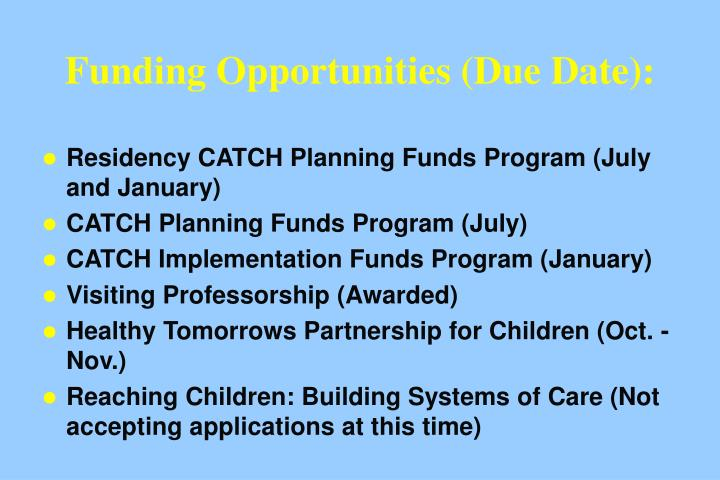 Funding Opportunities (Due Date):