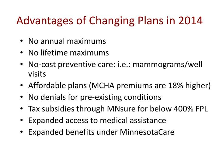 Advantages of Changing Plans in 2014