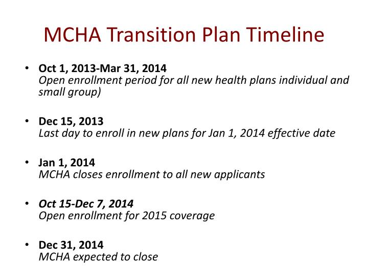 MCHA Transition Plan Timeline
