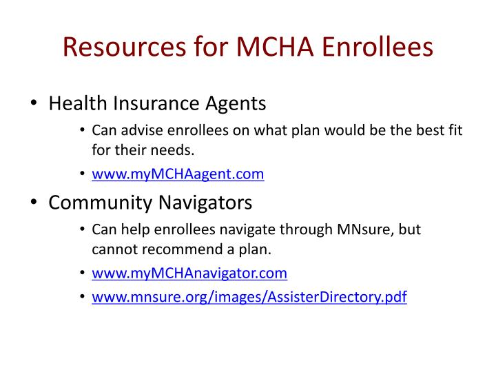 Resources for MCHA Enrollees