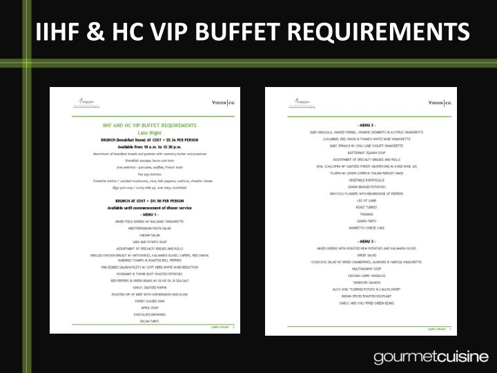 IIHF & HC VIP BUFFET REQUIREMENTS