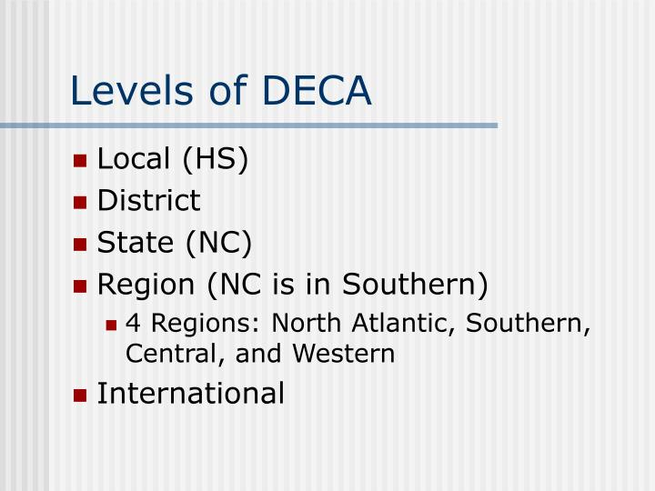 Levels of DECA