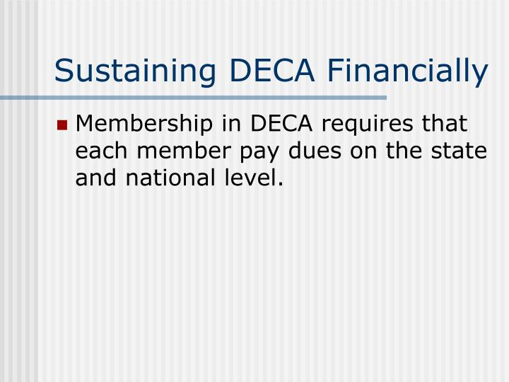 Sustaining DECA Financially