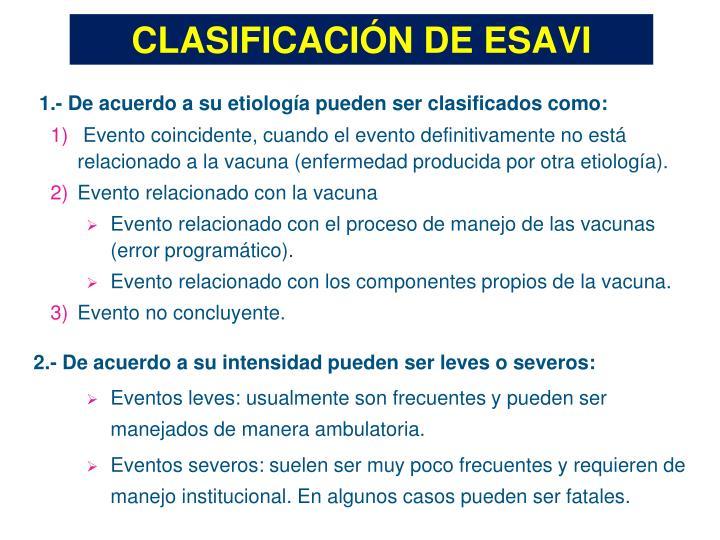 CLASIFICACIÓN DE ESAVI