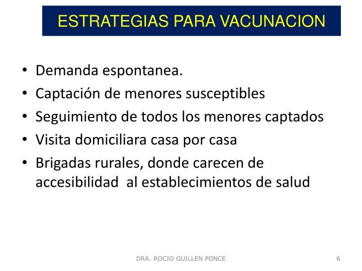 ESTRATEGIAS PARA VACUNACION