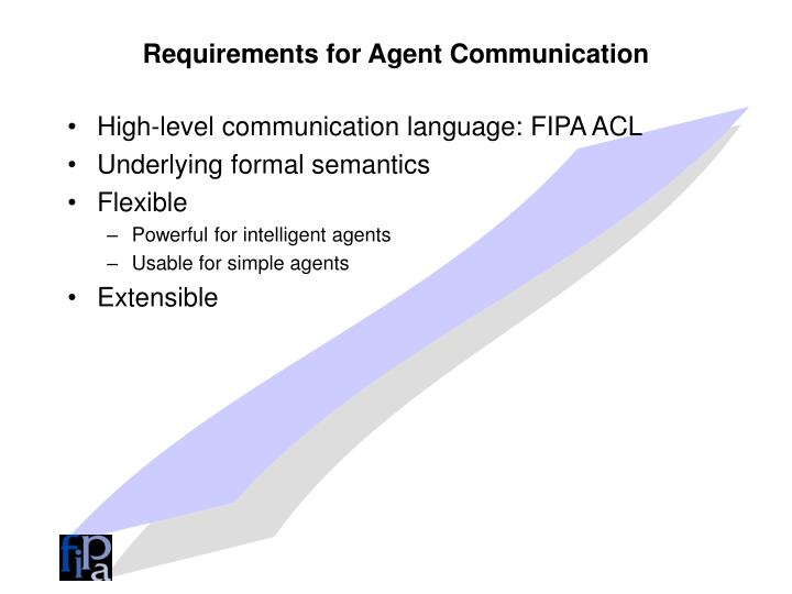Requirements for Agent Communication