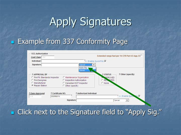 Apply Signatures