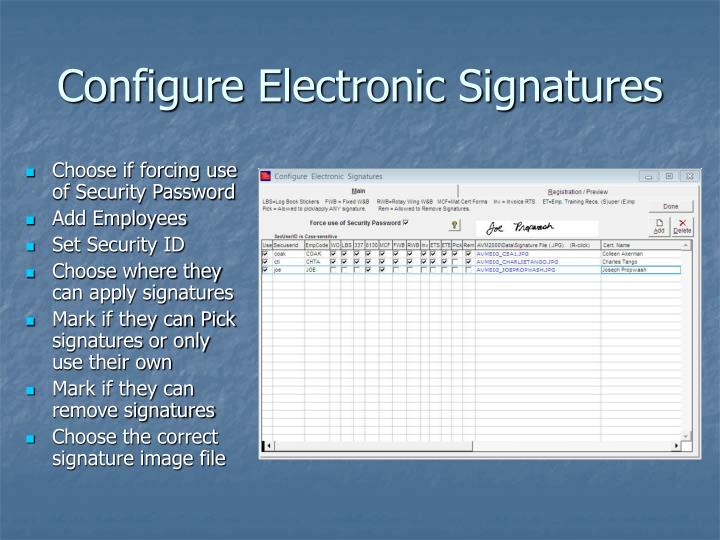 Configure Electronic Signatures