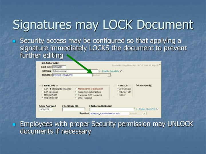 Signatures may LOCK Document