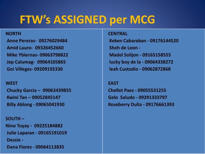 FTW's ASSIGNED per MCG
