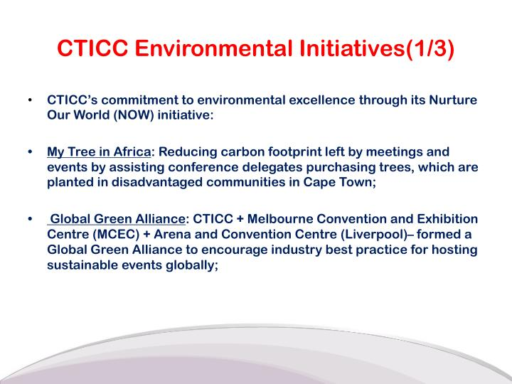 CTICC Environmental Initiatives(1/3)