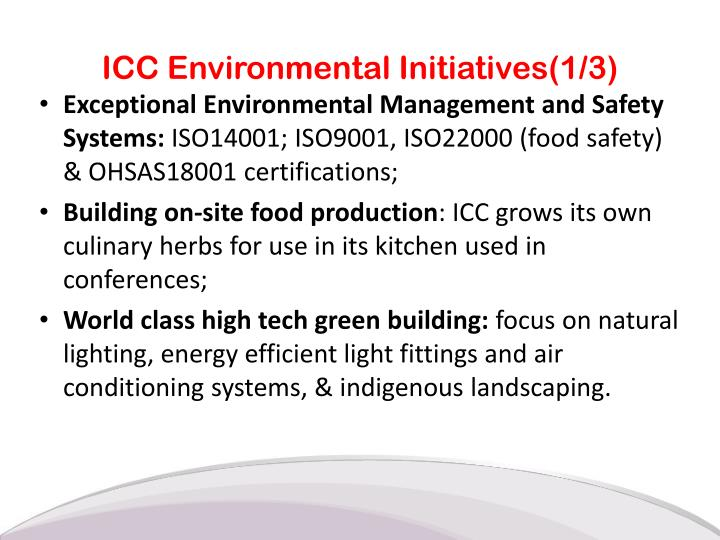 ICC Environmental Initiatives(1/3)