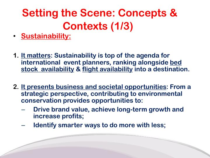 Setting the Scene: Concepts & Contexts (1/3)