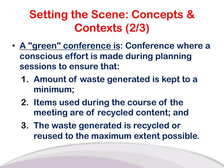 Setting the Scene: Concepts & Contexts (2/3)