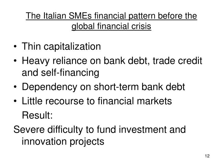 The Italian SMEs financial pattern before the global financial crisis
