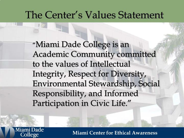 The Center's Values Statement