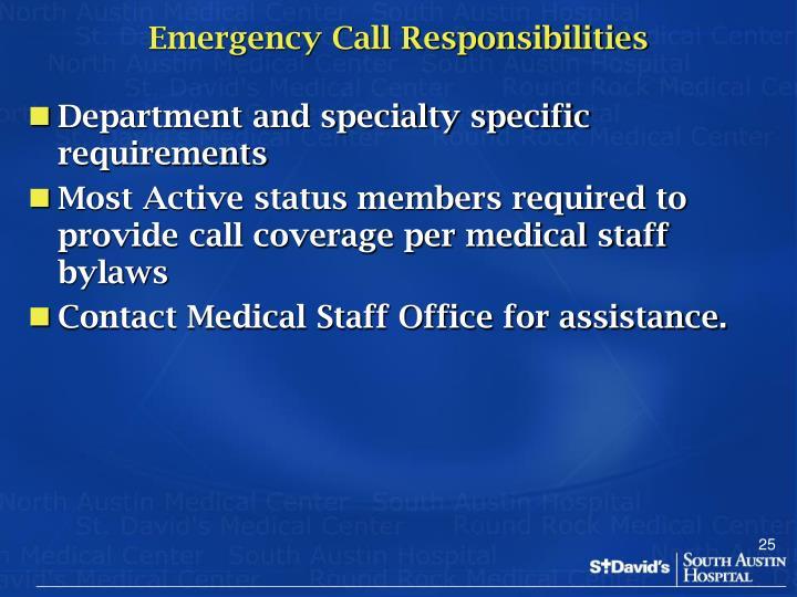 Emergency Call Responsibilities