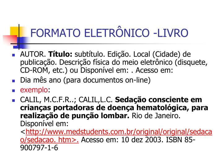 FORMATO ELETRÔNICO -LIVRO