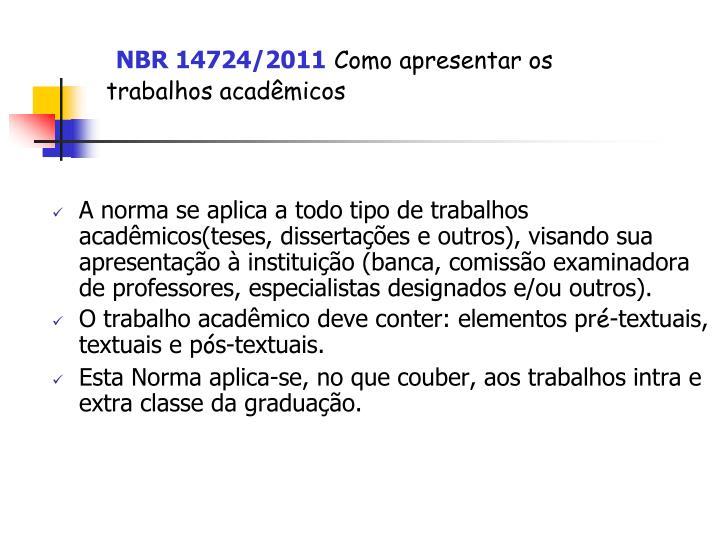 NBR 14724/2011