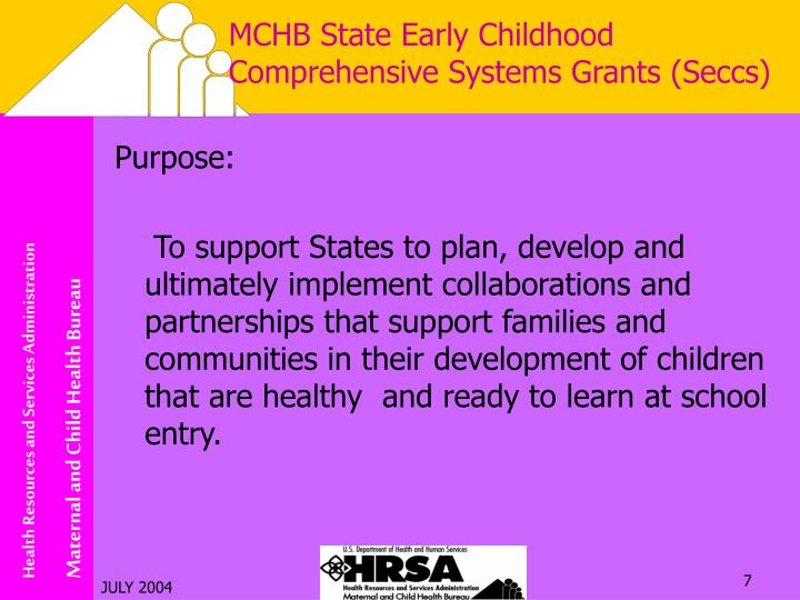 MCHB State Early Childhood Comprehensive Systems Grants (Seccs)