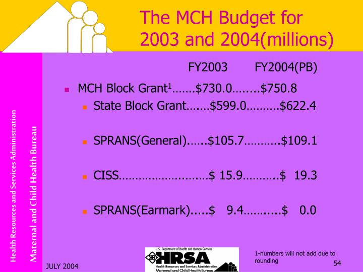 The MCH Budget for 2003 and 2004(millions)