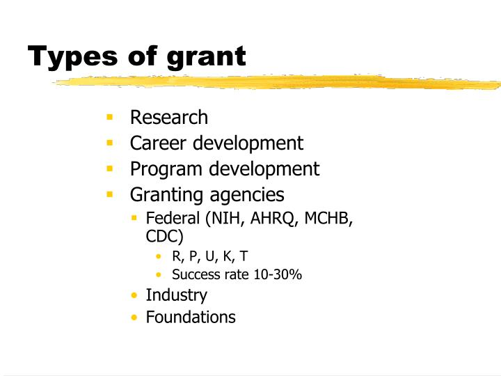 Types of grant