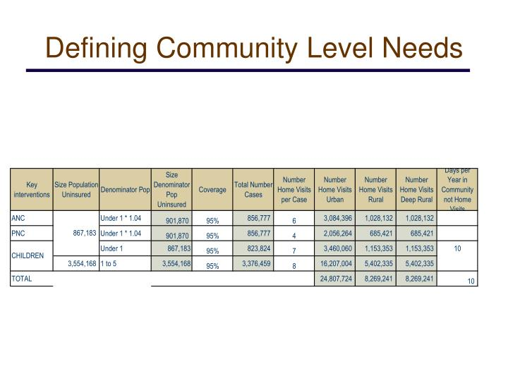 Defining Community Level Needs