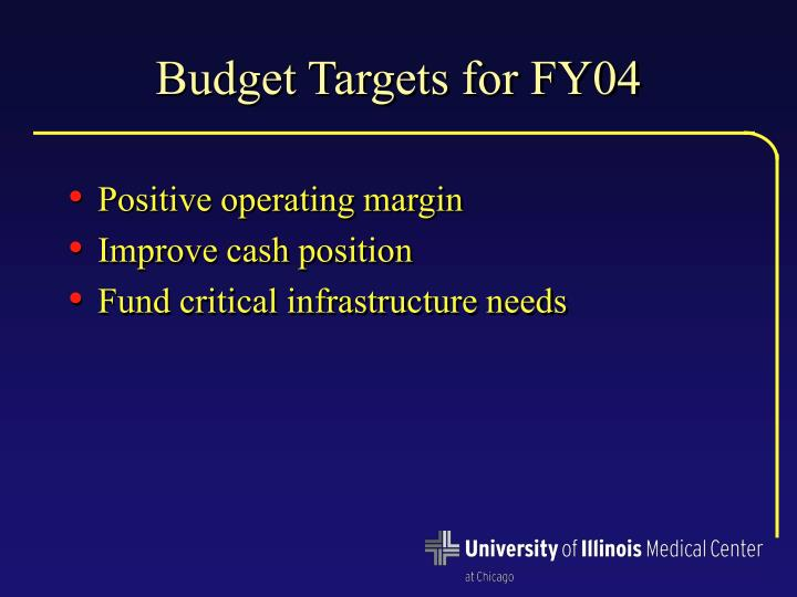Budget Targets for FY04