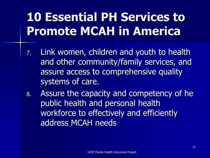 10 Essential PH Services to Promote MCAH in America